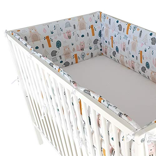 BELLO - Baby Nestchen für Babybett Gemustert | Bettnestchen für Kinderbett 120x60 oder 140x70 | Nestchen für Baby- und Kinderbetten (Bett 60x120-360cm, Waldtiere)