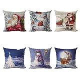 NIBESSER 6er Set Dekorativ Kissenbezug Weihnachten Muster 45 x 45cm Sofa Büro Dekor Kissenhülle...