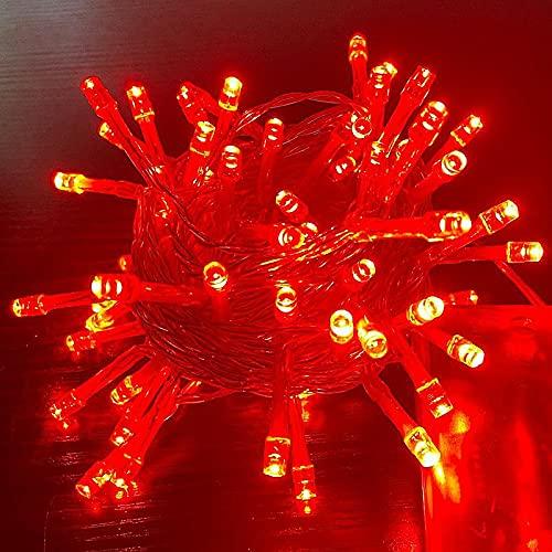 Cadena de luces Lámpara decorativa de cuerda Iluminación exterior 10M 80LED Batería roja
