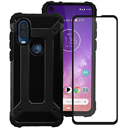 KZIOACSH Armor Case for Motorola One Vision,Dual Layer TPU + PC Rugged Cover Case with Black Tempered Glass Screen Protector for Motorola One Vision[ Reinforced Protection]