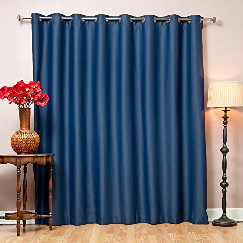 Best Home Fashion Premium Wide Width Thermal Insulated Blackout Curtain - Antique Bronze Grommet Top - Navy - 100 W x 84 L - (1 Panel)
