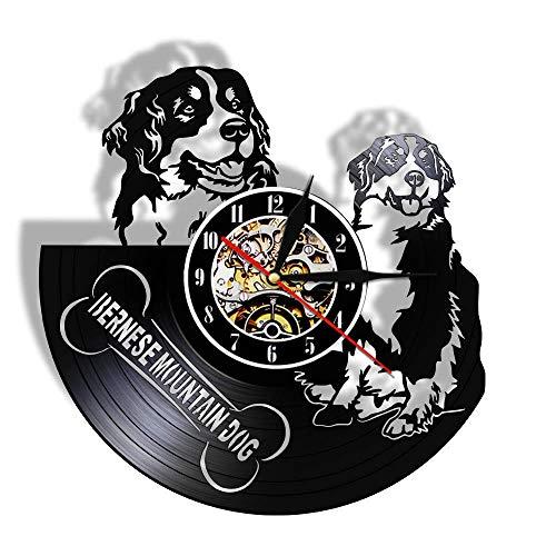 KFSG Bonito Reloj de Perro de montaña de Berna, Mecanismo de Silencio de Animales, decoración de Pared de Vinilo, Perro de montaña de Berna, Amantes de los Perros a los Queridos Amigos