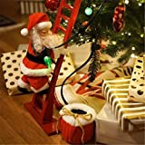 Electric Climbing Santa- Limited Edition, Santa Claus on Ladder with Music and LED Light, Plush Climbing Ladder Santa Doll Toy Christmas Tree Hanging Ornament for Fireplace Home Door Wall Decor