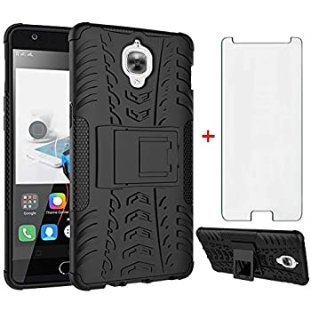Phone Case for Oneplus 3 3T A3000 with Tempered Glass Screen Protector Cover and Stand Kickstand Hard Rugged Hybrid Cell Accessories Oneplus3 Oneplus3T 1 One Plus T 1plus 1+ 1+3T 1+3 Cases Men Black