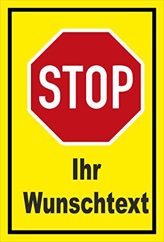 Melis Folienwerkstatt Schild - Stop - Halt - Ihr Wunschtext – 30x20cm | stabile 3mm Starke Aluminiumverbundplatte – S00357-001-C +++ in 20 Varianten erhältlich