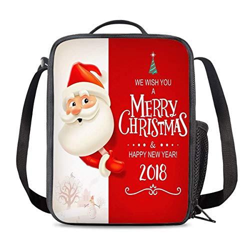 Bolsa Térmica Comida Bolsas de Almuerzo caja porta con Aislamiento Bolso de Mano Feliz navidad santa claus Impermeable Fiambrera Isotermica Aislado Térmico Organizador del Almuerzo