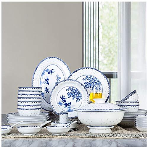 LZXMXR Vajilla, Hecho a Mano Azul Antigua China y Platos de cerámica Blanca, Estilo Chino Exquisito de cerámica...