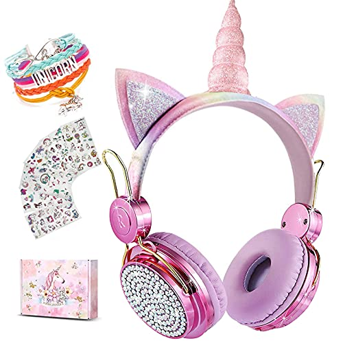 Unicorn Wireless Headphones for Kids,Cat Ear Bluetooth 5.0 Over Ear Headphones with Microphone for Cellphone/iPad/Laptop/PC/TV/PS4/Xbox One, Foldable Gaming Headset for Girls Teens Gift (Purple)