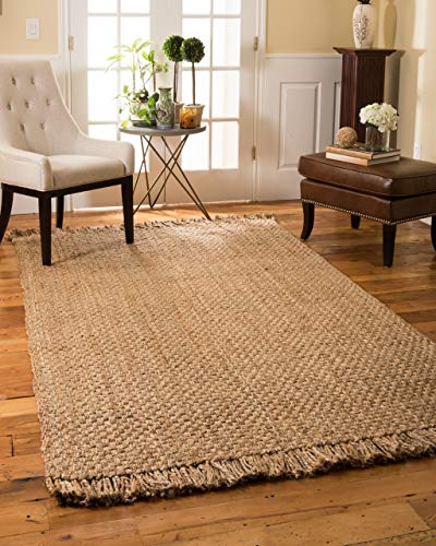 Natural Area Rugs – Jute Rug, Paloma Collection, Basketweave & Chunky Texture, Natural Fiber Rug, Handmade & Reversible, Beige 6′ x 9′