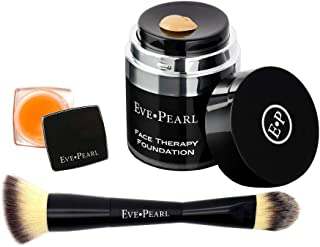 EVE PEARL Face and Lip Therapy Full Coverage Foundation With Lipcare Dry Lips Moisturizing And Dual Contour Blender Brush Must Have Makeup Kit (Medium)