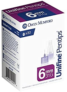 Unifine Pentips Pen Needles, 6mm X 31g, 30 Count