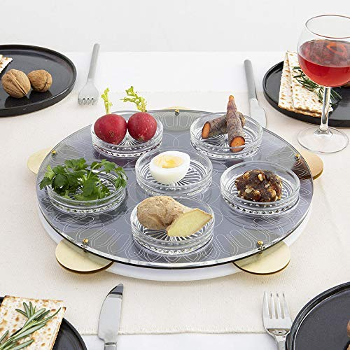 Modern Seder Plate Inspired by Miriam's Tambourine, Acrylic Tray with Hebrew Words Engraved, Brass Cymbals, 6 Glass Bowls. Feminist Judaica