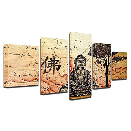 VYQDTNR - 5 Panel Large Canvas Wall Art Buddha Zen Picture Poster Framed Artwork Wall Decor Modern Living Room Bedroom Kitchen Office Home Decorations Ready to Hang