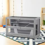 Hamster Cage Wooden Hamster House Rat Cage with Chewing Toy, Hideout,...