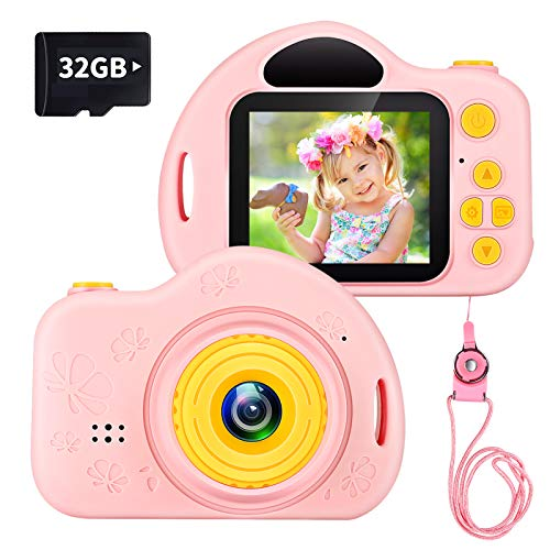 ishantech Kids Camera Toys for Age 3-9 Girls 1080P IPS 2 inch HD Birthday Toys Toddler Children Camera for 3 4 5 6 7 8 9 Year Old Girls with 32G SD Card