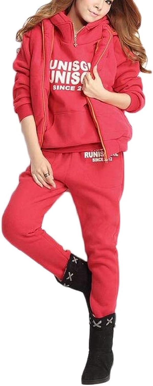 FanmeiliAU Women's 3 Pieces Outfits Fleece Hooded Sweatsuit Set Tracksuits Plus Size