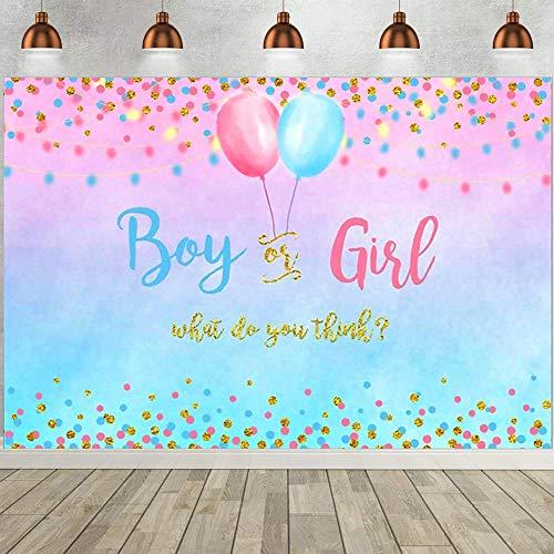 Décoration Genre Révéler Bannière, Rose Bleu Toile Fond Baby Shower, Bannière surprise genre, fond photographie douche bébé, 150 x 210cm