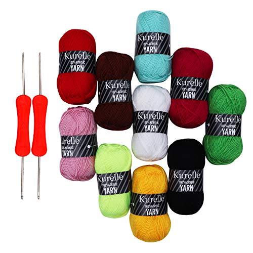 Pack de 10 Madejas Hilo de tejer/Hilo Acrilico con 2 Agujas de Ganchillo - Perfecto para Crochet y Tejer - Acrílicos Skeins en una variedad de colores - Hilo de Acrílico 10x50g(500g, 800m en total)
