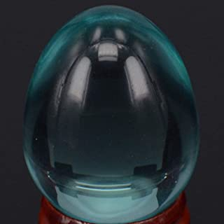 VAWAA 34x44mm Nice Ocean Blue Obsidian Sphere Egg Healing Crafts Stone Massage Finger Exercise