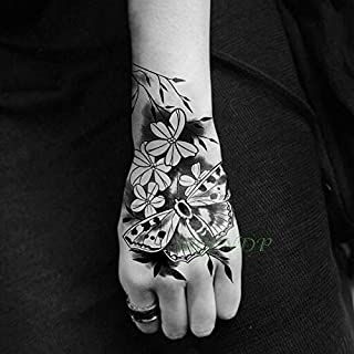 Waterproof Temporary Tattoo Sticker Rose Flower Hand Art Flash Tatoo Tattoos for Women Men (Color : Wine red)