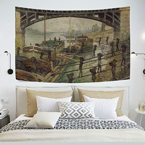 AHOMY Tapestry Wall Hanging, Coal Dockers Monet Art Oil Paintings Bedspread Picnic Bedsheet Blanket Wall Art Tapestry 60 X 51 inch