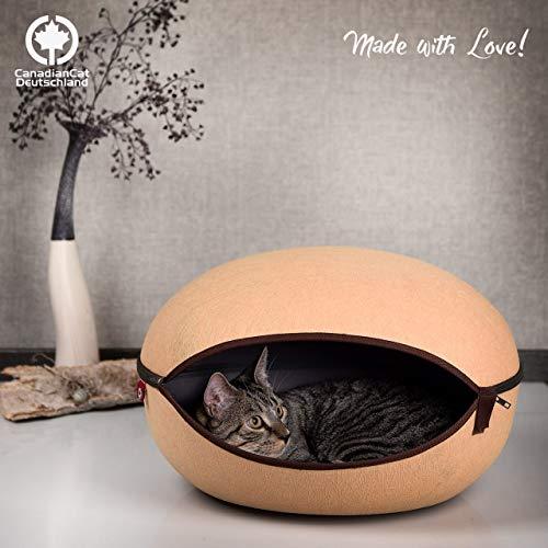 CanadianCat Company ® | Katzenbett, Katzenhöhle in Uni-beige, die Kuschelhöhle mit Stil