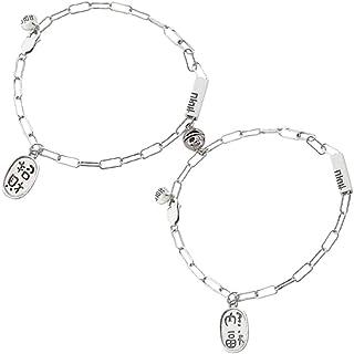 2 قطعة 925 سوار زوجين من الفضة الاسترليني سلسلة جذب متعدد مغناطيسي أفضل أمنيات سوار مجوهرات هدايا للعشاق النساء الرجال وال...