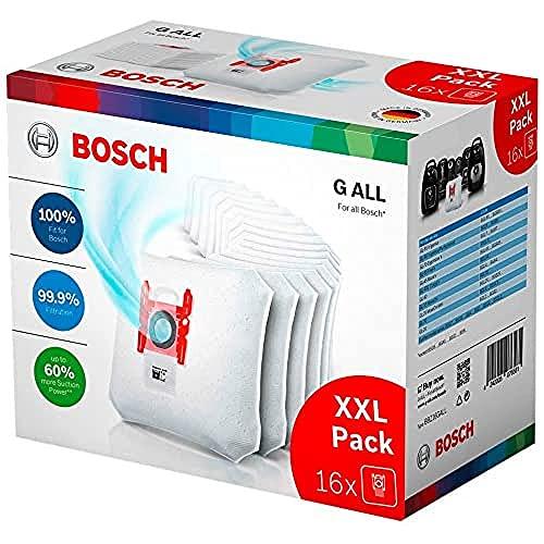Bosch 16x Staubsaugerbeutel Typ G ALL BBZ16GALL, 99,9% Feinstaubfilterung, höhere Reinigungsleistung, 50% längere Nutzungsdauer, passend für alle Baureihen außer BSG8, BSN1
