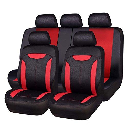 CAR PASS Montclair 11PCS Universal Fit Leather Seat Covers,fit for suvs,Trucks,sedans,Cars,Vehicles,Vans,Airbag Compatible (Red)