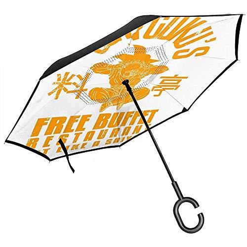 Son Gokus Free dressoir Dragon bal met omgekeerde paraplu, voor auto, inklapbaar, handen in C-vorm, licht, ideaal winddicht cadeau