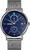 JSL Reloj de cuarzo para hombre de negocios europeos y americanos de cuarzo redondo espejo reloj de estudiante de moda de color azul plateado y azul plateado