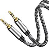 Aux Cable 15Ft,Tan QY 3.5mm Male to Male Auxiliary Audio Stereo Cord Compatible with Car,Headphones, iPods, iPhones, iPads,Tablets,Laptops,Android Smart Phones& More(15Ft/5M,Silver)
