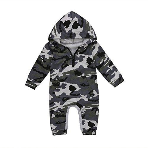 Carolilly Pagliaccetto Neonato Militare Body Neonato con Cappuccio Manica Lunga Tutina Neonato Cotone Autunno Inverno(da 0 a 24 Mesi)
