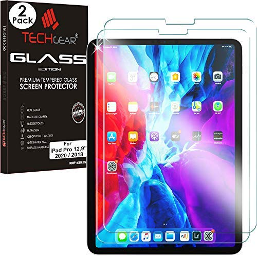 TECHGEAR [2 Pack] GLASS Edition for New iPad Pro 12.9' 2020, 2018 [Updated for FACE ID] Genuine Tempered Glass Screen Protector Guard Covers Compatible with iPad Pro 12.9 inch 4th & 3rd Gen & Pencil