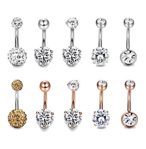 Thunaraz 10pcs 14G Stainless Steel Belly Button Rings for Women Crystal CZ Ball Screw Navel Bars White/Rose