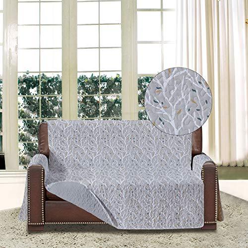 softan Sofa-Schonbezug mit Elastiken und Bändern für 2 Sitzer, Sofa Überwürfe mit Aufbewahrungstaschen,Schutz vor Haustieren, Schmutz, und Verschleiß(Zweisitzer, AST/Grau)