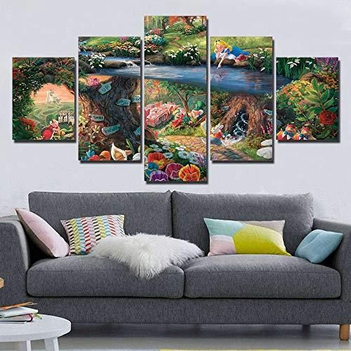 5 Panel Hd Druck Thomas Kinkade Alice Im Wunderland Malerei Leinwand Wandkunst 5 Stück Bild Home Decoration Print(NO Frame size 3)