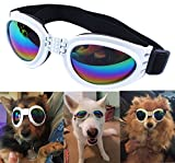 QUMY Dog Goggles Eye Wear Protection Waterproof Pet Sunglasses for Dogs About Over 15 lbs (White)