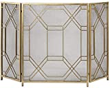ADSE Funkenschutz 3 Panel Gold Kamingitter Kamintüren, Schmiedeeisen Klassische Kamintorgitter Outdoor Decor Mesh, Hoch 85cm