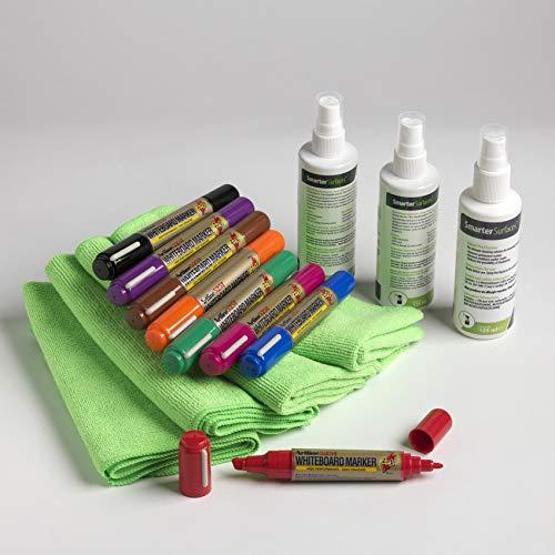 Kit de Usuario de Pizarra Pro - accesorios para escribir, borrar, limpiar y mantener tu superficie de pizarra de borrado en seco - incluye 8 rotuladores, 3 trapos de microfibra y 2 sprays limpiador de pizarra y 1 borrador de tinta permanente