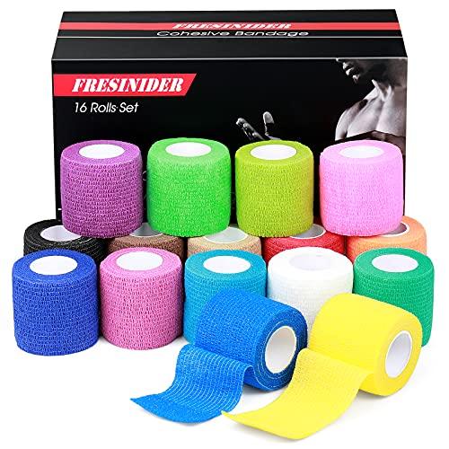 FRESINIDER 16 Rolls Self Adhesive Wrap Athletic Tape Gauze,Medical Bandage,Breathable Elastic Cohesive Bandage for Sports Injury & Pet (Rainbow)