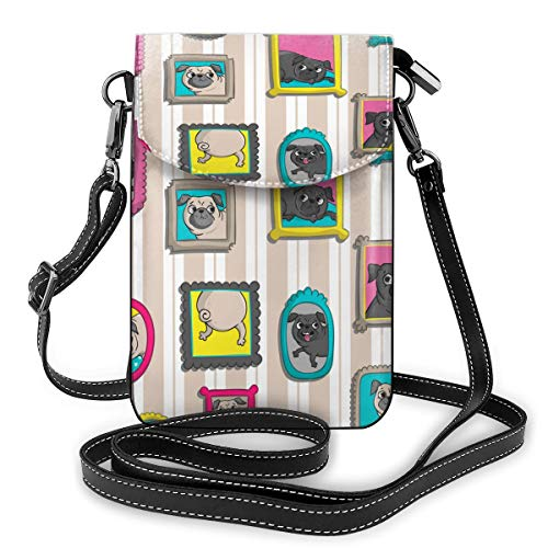 Générique Album photo de dessin animé Bulldog Petit sac à bandoulière Sac à main en cuir PU avec sangle réglable pour la vie quotidienne