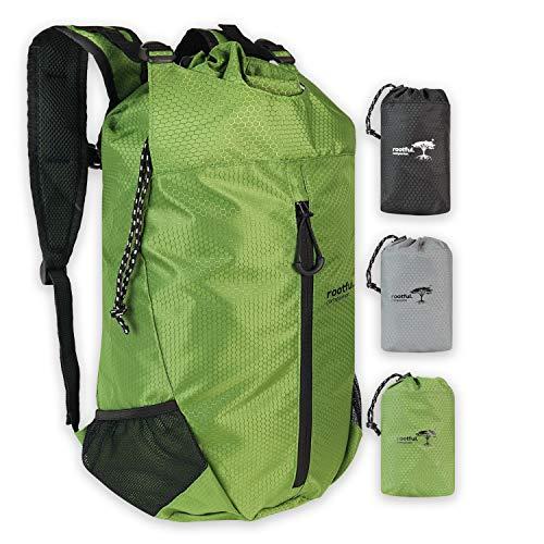 rootful.® Companion Faltbarer Premium Rucksack 25L (neues Modell 2020) - Ultraleichter Rucksack für Outdoor, Reisen, Camping und Wandern - Tagesrucksack/Daypack (Grün)