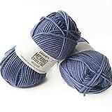 Superwash 100% lana de merino para tejer y ganchillo, 3 o ligero, DK, Leight Worsted Peso, Gotas Merino Extra Finas, 1.8 oz 115 yardas por bola (13 azul vaquero)