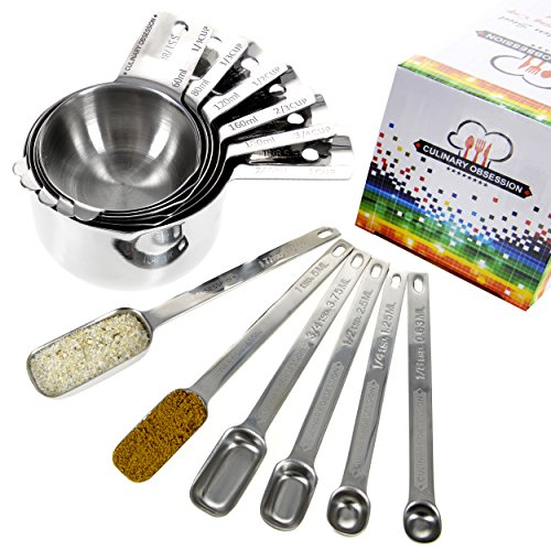 Stainless Steel Measuring Cups and Spoons Set - 12 Piece Stacking Kitchen Measuring Set, Featuring 6 Cups with Pour Spouts and 6 Special Narrow Design Spoons