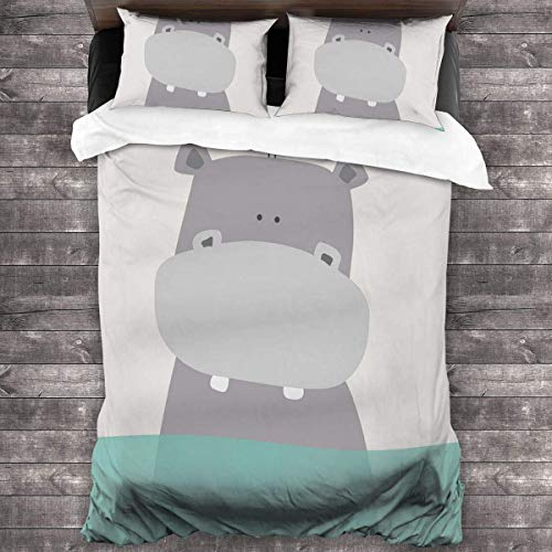 Butlerame Cartoon Hippo And Bird Bed Sheet Set Stain Resistant Breathable Bedding Sets Ultra Soft Microfiber Bed Cover 3 Pieces With Sheet