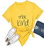 DANVOUY Womens T Shirt Casual Cotton Short Sleeve V-Neck Graphic T-Shirt Tops Tees Yellow Medium
