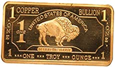Metal Art Collection - 1 oz One Troy Ounce USA American Buffalo .999 Fine Copper Bullion Bar Ingot Cu Element CMCMINT