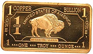 1 oz One Troy Ounce USA American Buffalo .999 Pure Copper Bullion Bar Cu Element