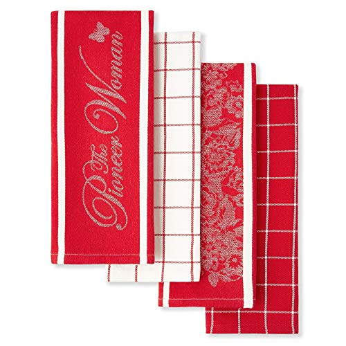The Pioneer Woman Floral Kitchen Towels, Red and White, Set of 4